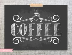 Chalkboard Coffee Print- 5x7 Illustrated Typeography Art Print- Home/Office/Coffee Bar Decor on Etsy, $9.00