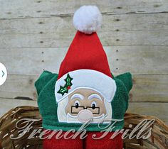 4x4 3D Santa Hooded Towel Design by FrenchFrills on Etsy