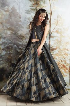 Grey exquisite cotton silk indo western lehanga-GC1576