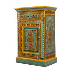 Turquoise and Yellow Painted Cupboard | Iris Furnishing