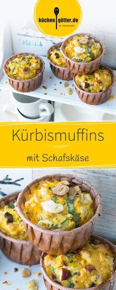 Herzhafte Muffins mit Hokkaidokürbis-Fruchtfleisch, Haselnüssen und Schafskäse. Perfekt auch als Alternative zum regulären Pausenbrot für die Kleinen.