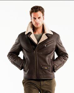 Barneys Vintage Men's Authentic Leather Bomber Aviator Jacket ...