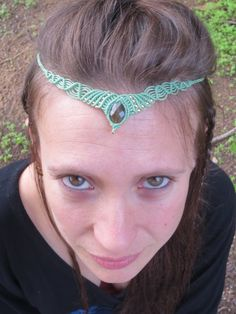30% Off - Boho wedding headpiece Macrame jewelry turquoise Tiara with Labradorite stone - hippie bride