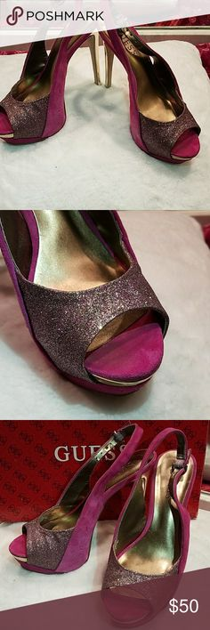 👠Guess Peep-toes pumps. Pink Gold BILLOW Peep Toe wSPARKLES Pumps. Worn like 4 times. Guess Shoes Heels