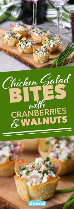 Chicken Salad Bites with Cranberries & Walnuts