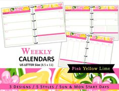 Lilly Inspired Weekly Calendar Planner Refills - Printable - US Letter- 3 Designs/5 Styles - Tropical Lemon Lime Pink Southern Preppy (5.00 USD) by myunclutteredlife