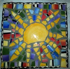 Mosaic Sun Stepping Stone (I made this)