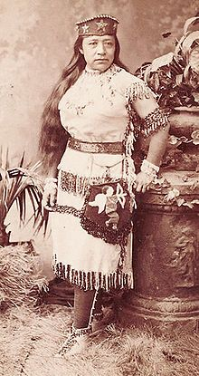 Sarah Winnemucca (1844 – 1891) was a prominent female Native American activist and educator, and an influential figure in the United States' nineteenth-century Indian policies. Winnemucca was notable for being the first Native American woman known to secure a copyright and to publish in the English language. Sarah was a person of two worlds. At the time of her birth her people had only very limited contact with Euro-Americans; however she spent much of her adult life in white society.