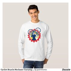 Cyclist Bicycle Mechanic Carrying Bike Men's long sleeve shirt showing an illustration of a cyclist carrying a racing bike on his shoulder holding spanner looking to the side set inside a mechanical  sprocket done in retro style. #cycling #olympics #sports #summergames #rio2016 #olympics2016 Re T Shirt.