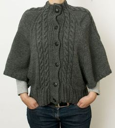 Free Knitting Pattern for Cabled Batwing Cardigan - Sweater with loose three-quarter sleeves and cable details by Debbie Bliss. Sizes 81-117cm, 32-46in Pictured project by cymbalinep