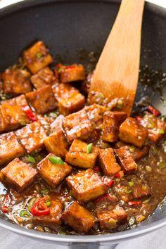 vegan black pepper tofu being made