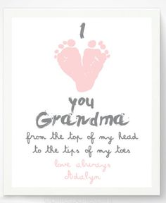 "Valentine's Day Gifts for Mom, Dad, & the Grandparents:  ""I Love You Grandma From The Top of My Head To The Tips Of My Toes"" Personalized Fo..."