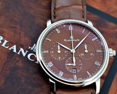 Blancpain Villeret Single Button Chronograph in 18K White Gold with a BROWN Dial Reference 6185-1546-55B.....