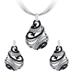14K White Gold Plated Sterling Silver Black & White Filigree CZ Drop Earrings & Pendant Set Double Accent. $85.99