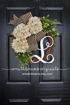 BEST SELLER Cream Hydrangea Wreath. Burlap Wreath. Year Round