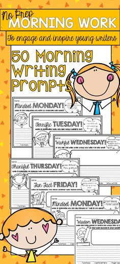 No prep morning writing prompts. Help develop a growth mindset in your students!