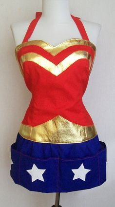 Super Hero Apron - Domestic Wonder Woman - reversible. $60.00, via Etsy.