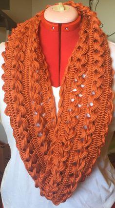 Handmade Hairpin Lace Infinity Scarf - adult size - orange
