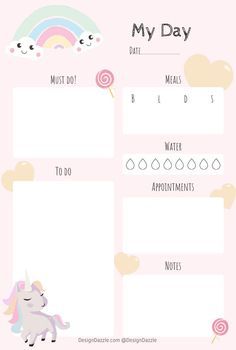Kids will love this adorable organization planner! Free Unicorn Planner printable by Design Dazzle Kids will love this adorable organization planner! Free Unicorn Planner printable by Design Dazzle Daily Planner Pages, Study Planner, Weekly Planner Printable, Cute Planner, Planner Template, Printable Planner Stickers, Printable Calendars, Blog Organisation, Planer Organisation
