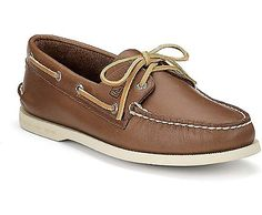 Authentic Original 2-Eye Boat Shoe, Tan Leather