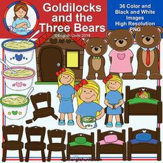 Clip Art - Goldilocks and the Three Bears: This set contains all of the images shown - 36 images color images and the same 18 in black and white). The images are saved at in transparent PNG files. For personal and/or commercial use. Bear Clipart, Cute Clipart, Spelling Activities, Speech Therapy Activities, Play Therapy, Owl Clip Art, Goldilocks And The Three Bears, School Clipart, Bear Theme