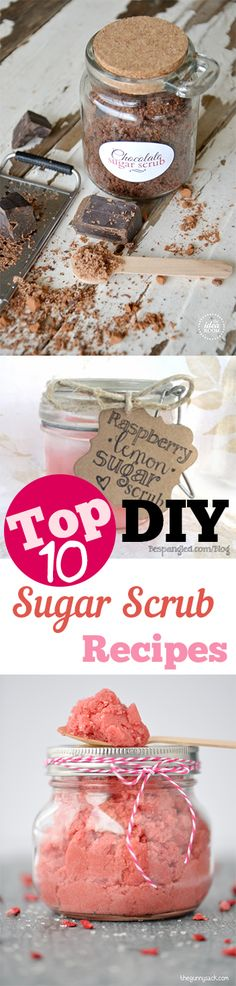 DIY Sugar Scrub Recipes that are amazing! Cute ideas for gifts, teachers, etc. Yummy DIY sugar scrubs you will love.