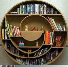 A spiral bookshelf