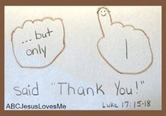 Jesus healed the 10 men with lepers but one said thank you.