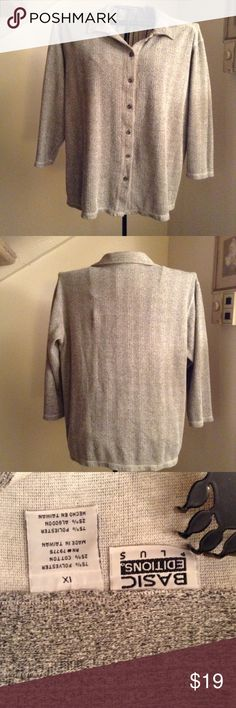 Plus size BASICS SWEATER Long sleeved poly cotton button down Basic plus Sweaters