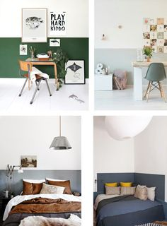 Color Idea: half painted walls - Interior Notes - interior design for painting the walls Half Painted Walls, Half Walls, Two Toned Walls, Home Bedroom, Bedroom Wall, Bedroom Decor, Living Comedor, Living Room Paint, My New Room