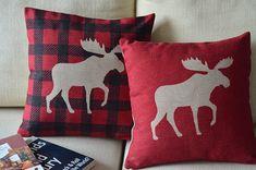 """Elk Moose - Novelty Decorative Pillow Case Creative Cushion Cover Cotton Linen Blend Fabric 45x45cm 17.8""""x17.8"""""""
