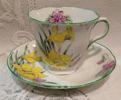 Vintage ENGLISH MELBA Bone China Tea Cup & Saucer by CupsAndRoses