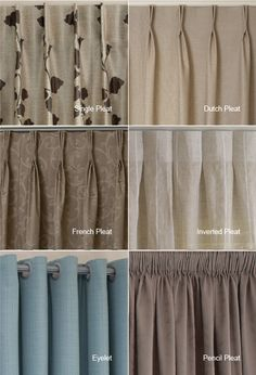 examples of the different heading types available i quite like the inverted pleat and single - Types Of Curtains For Windows