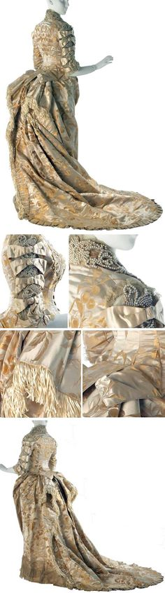 Wedding gown, Worth, 1878. Boned bodice with deep center front busk point & basque tails. Undersleeve is ivory satin; upper sleeve is net covered w/pearl appliqués. To create slashed effect, satin bands applied over pearls. Self-fabric strips sewn over bands to simulate knots. Ivory satin cockades at elbows. Plain weave silk backing. Skirt front backed with silk taffeta. Two layers of self fabric used to create bustle. Museum of the City of New York