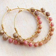 Blush Blush: Wire Wrapped Beaded Hoop Earrings http://etsy.me/1lGzrH8 #etsy #bridesmaid  #etsyjapan #etsymntt #fashion #handmade #handmadehour