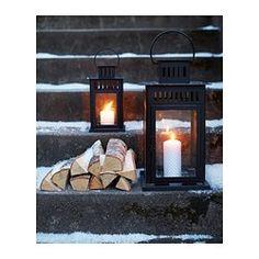 BORRBY Lanterne pour bougie bloc, noir intérieur/extérieur noir - IKEA