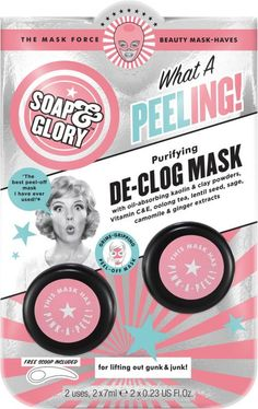 Lift out gunk and eliminate that junk with Soap & Glory's What A new Peeling! Purifying De-Clog Mask! A completely a-peeling mask that will helps to remove dirt in addition to impurities while you peel that off. #homemadefacemasksfordryskin #homemadefacemasksglow #homemadefacemaskspeel #homemadefacemasksrecipes #homemadefacemasksforredness #homemadefacemasksforwrinkles Face Peel Mask, Peel Off Mask, Face Mask For Spots, Skin Tightening Mask, Purifying Mask, Cleansing Mask, Homemade Face Masks, Skin Brightening, Clogs