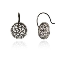 Maro - Oxidised Silver Byzantine Mini Hoop Earrings ($155) ❤ liked on Polyvore featuring jewelry, earrings, oxidized silver jewelry, peace sign jewelry, peace jewelry, hoop earrings and peace earrings