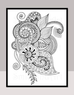 Instant Download Adult Coloring Page, Coloring Card