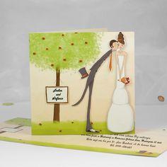 Unsere Herzen schlagen im Gleichklang Baum Einladungen für Hochzeit optimalkarten.de
