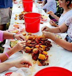 There are basically only two seasons in Louisiana—crawfish season, and the rest of the year. Tables piled high with seasoned crawdads, the first ears of sweet corn, and a few boiled potatoes are th… Shrimp Boil Party, Crawfish Party, Crawfish Season, Seafood Party, Crab Party, Lobster Party, Lobster Bake, Tiki Party, Crab Feast