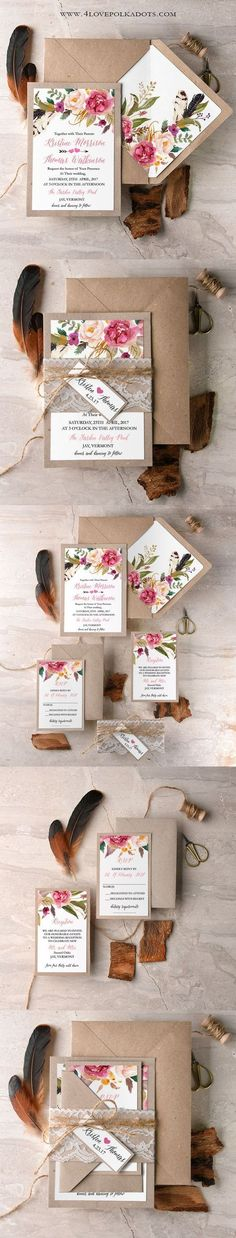 Boho Floral Wedding Invitation - Eco Papers & Lace    @4lovepolkadots