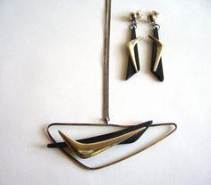 Everett Macdonald: Sterling and Ebony Bomerang Necklace + Earrings