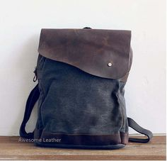 Image of gray canvas backpack leather travelbags clutch bag Student Canvas Backpack Leisure Packs