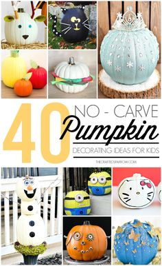 Skip the mess this year and try one of these 40 No-Carve Pumpkin Decorating Ideas for Kids for a fun twist on a yearly tradition. Halloween Pumpkin Designs, Vintage Halloween, Halloween Pumpkins, Halloween Crafts, Halloween Decorations, Halloween Ideas, Halloween Carnival, Fall Crafts, Holiday Crafts