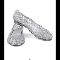 NEW!!  Dark Silver Glitter Flat/No Trades Silver glitter flats. Very trendy. Very cute. These flats are darker than the picture. Shoes