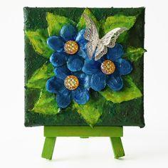 Butterfly on blue flowers (Pillangó kék virágokon) - 10 x 10 cm (10 x 14 cm), 2018 #paverpol #textile #textil #acrylic #akril #vivienholl #butterfly #pillangó #virágok #flowers Techno, Shoulder Bag, Flowers, Shoulder Bags, Techno Music, Royal Icing Flowers, Flower, Florals, Floral