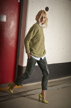 love the slouchy knit sweater with sharp sparkle pants!