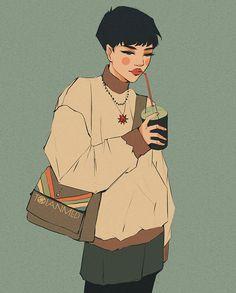 not an issue Aesthetic Anime, Aesthetic Art, Pretty Art, Cute Art, Art Sketches, Art Drawings, Cartoon Art Styles, Korean Art, Korean Style