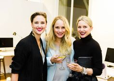 Designer Lisa Salzer (left) with Grace Atwood (middle) and Blair Eadie (right).